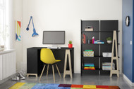 Nexera Atypik 2 Piece Home Office Set, Black and Russian Plywood - 403037