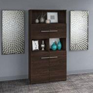 Bush Business Furniture Office 500 5 Shelf Bookcase with Doors in Black Walnut - OFB136BW