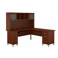 Bush Furniture Somerset 72W L Shaped Desk with Hutch in Hansen Cherry - SET001HC