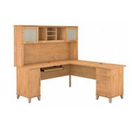 Bush Furniture Somerset 72W L Shaped Desk with Hutch in Maple Cross - SET001MC