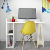 Nexera Atypik Open Storage Desk, White and Russian Plywood - 608003