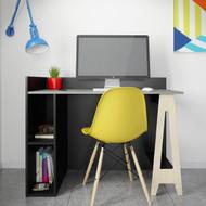 Nexera Atypik Open Storage Desk, Black/Greige and Russian Plywood - 608076