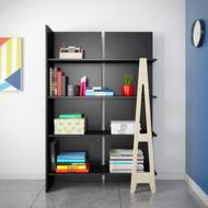 Nexera Atypik Bookcase, Black and Russian Plywood - 608506