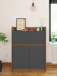 Nexera Chrono Secretary Desk, Nutmeg and Charcoal Grey - 351657