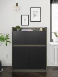 Nexera Chrono Secretary Desk, Bark Grey and Black - 351645