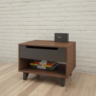 Nexera Nightstand, 1-Drawer, Walnut & Charcoal - 340142