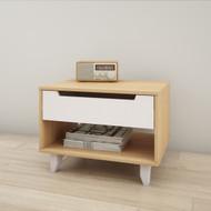 Nexera Nightstand, 1-Drawer, White and Natural Maple - 340139
