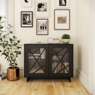 Nexera Paragon 2-Door Storage Cabinet, Black - 130106