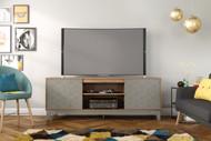 Nexera Hexagon TV Stand, 72-inch, Nutmeg and Greige - 402335