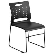 Flash Furniture HERCULES Series Sled Base Stack Chair with Air-Vent Back Black - RUT-2-BK-GG