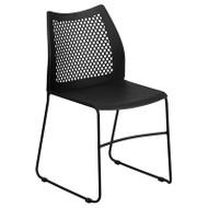 Flash Furniture HERCULES Black Stack Chair with Air-Vent Back Sled Base Black - RUT-498A-BLACK-GG