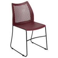 Flash Furniture HERCULES Black Stack Chair with Air-Vent Back Sled Base Burgundy - RUT-498A-BY-GG
