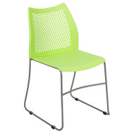 Flash Furniture HERCULES Stack Chair with Air-Vent Back Sled Base Green - RUT-498A-GN-GG