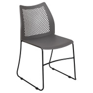Flash Furniture HERCULES Stack Chair with Air-Vent Back Sled Base Gray  - RUT-498A-GY-GG