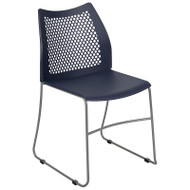 Flash Furniture HERCULES Stack Chair with Air-Vent Back Sled Base Navy - RUT-498A-NY-GG