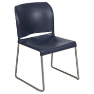 Flash Furniture Full Back Contoured Stack Chair with Sled Base Navy - RUT-238A-NY-GG