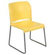 Flash Furniture Full Back Contoured Stack Chair with Sled Base Yellow - RUT-238A-YL-GG