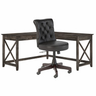 Bush Furniture Key West 60W L-Shaped Desk with Mid Back Tufted Office Chair Dark Gray Hickory - KWS045GH