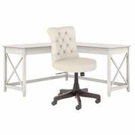 Bush Furniture Key West 60W L-Shaped Desk with Mid Back Tufted Office Chair Linen White Oak - KWS045LW