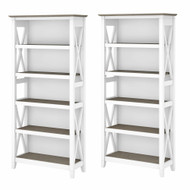 Bush Furniture Key West 5 Shelf Bookcase Set Shiplap Gray/Pure White - KWS046G2W