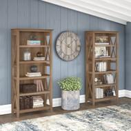 Bush Furniture Key West 5 Shelf Bookcase Set Reclaimed Pine - KWS046RCP