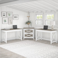 Bush Furniture Key West 2 Person Desk Set with Lateral File Cabinet Shiplap Gray/Pure White - KWS047G2W