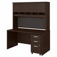 Bush Business Furniture Series C 60W X 30D Desk, Hutch and Mobile File Cabinet Mocha Cherry - SRC145MRSU
