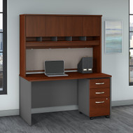 Bush Business Furniture Series C 60W X 30D Desk, Hutch and Mobile File Cabinet Hansen Cherry - SRC145HCSU