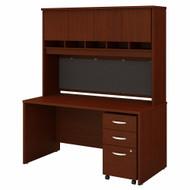 Bush Business Furniture Series C 60W X 30D Desk, Hutch and Mobile File Cabinet Natural Cherry - SRC145NCSU