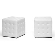Wholesale Interiors Baxton Studio Siskal White Modern Cube Ottoman (SET OF 2) - BH-5589-WHITE-OTTO
