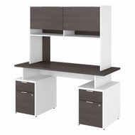 Bush Business Furniture Jamestown 60W Desk with 4 Drawers and Hutch in White and Storm Gray - JTN018SGWHSU