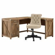 Bush Cottage Grove Collection 60W L Shaped Desk and Chair Set Reclaimed Pine - CGR012RCP