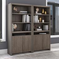 Bush Furniture Bristol Tall 6 Shelf Bookcase with Doors Restored Gray (Set of 2) - BRT005RT