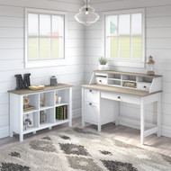 Bush Furniture Mayfield 54W Computer Desk Package with Cube Bookcase Shiplap Gray - MAY004GW2