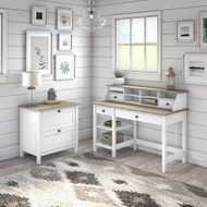 Bush Furniture Mayfield 54W Computer Desk Package with Lateral File Shiplap Gray - MAY005GW2