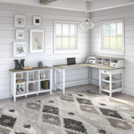 Bush Furniture Mayfield 60W L Shaped Desk and Cube Bookcase Package Shiplap Gray - MAY013GW2