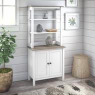 Bush Furniture Mayfield 5 Shelf Bookcase with Doors Shiplap Gray - MAY019GW2