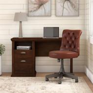 Bush Yorktown 50W Home Office Desk and Chair Set Antique Cherry - YRK014ANC
