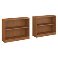 Bush Universal Bookcases Collection 2 Shelf Bookcase Set of 2 Royal Oak - UB001RO