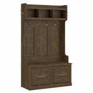 Kathy Ireland Bush Furniture Woodland 40W Hall Tree and Shoe Storage Bench Ash Brown - WDL001ABR