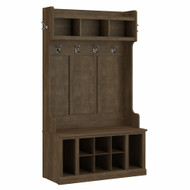 Kathy Ireland Bush Furniture Woodland 40W Hall Tree and Shoe Storage Bench Ash Brown - WDL002ABR