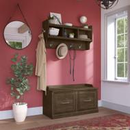 Kathy Ireland Bush Furniture Woodland 40W Shoe Storage Bench and Wall Mounted Coat Rack Ash Brown - WDL003ABR