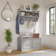 Kathy Ireland Bush Furniture Woodland 40W Shoe Storage Bench and Wall Mounted Coat Rack Cape Cod Gray - WDL003CG