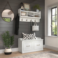 Kathy Ireland Bush Furniture Woodland 40W Shoe Storage Bench and Wall Mounted Coat Rack White Ash - WDL003WAS