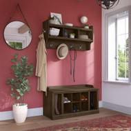 Kathy Ireland Bush Furniture Woodland 40W Shoe Storage Bench and Wall Mounted Coat Rack Ash Brown - WDL004ABR