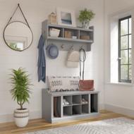 Kathy Ireland Bush Furniture Woodland 40W Shoe Storage Bench and Wall Mounted Coat Rack Cape Cod Gray - WDL004CG