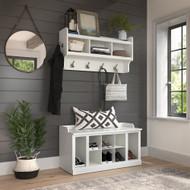 Kathy Ireland Bush Furniture Woodland 40W Shoe Storage Bench and Wall Mounted Coat Rack White Ash - WDL004WAS