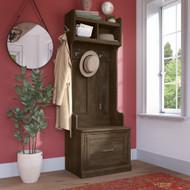 Kathy Ireland Bush Furniture Woodland 24W Hall Tree and Small Shoe Bench Ash Brown - WDL007ABR