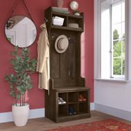 Kathy Ireland Bush Furniture Woodland 24W Hall Tree and Small Shoe Bench Ash Brown - WDL008ABR
