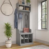 Kathy Ireland Bush Furniture Woodland 24W Hall Tree and Small Shoe Bench Cape Cod Gray - WDL008CG